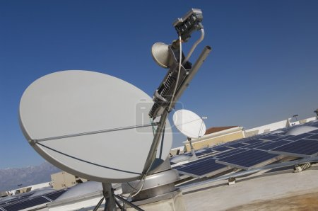 Satellite Dish With Solar Panels