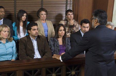 Male attorney addressing jury