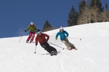 Skiers Skiing Downhill