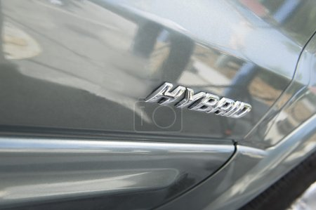 Sign on hybrid car