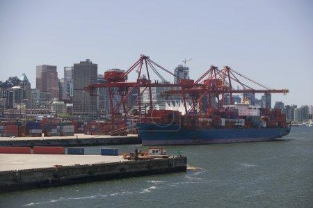 Cargo Ship In Vancouver Harbour British Columbia