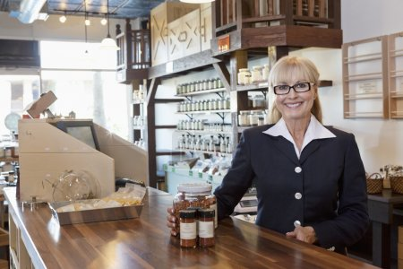 Senior spice store owner