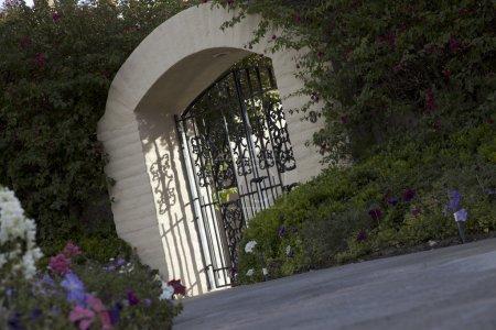 Tilt shot of entrance gate of house