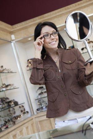 female customer wearing glasses