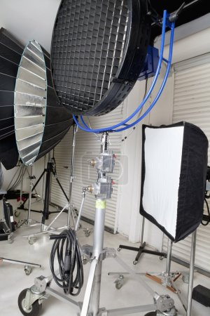Photo for Photographing lights and reflectors in studio - Royalty Free Image