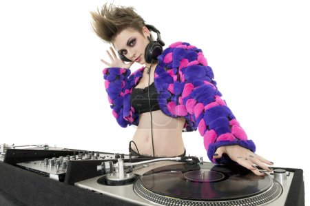 Photo for Portrait of beautiful DJ over white background - Royalty Free Image
