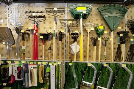 Gardening tools on display