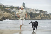 Senior Man Running With Dog At Beach