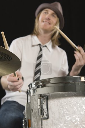 Happy Drummer Playing Drums