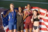 Multiethnic excited female athletes