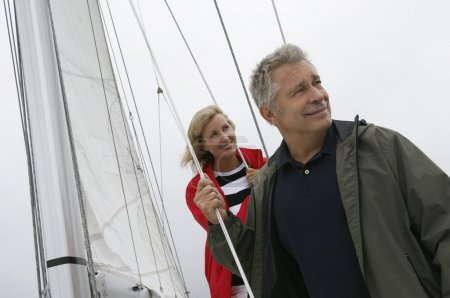 Caucasian Couple On Yacht