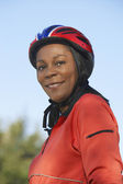Woman Wearing Cycling Helmet