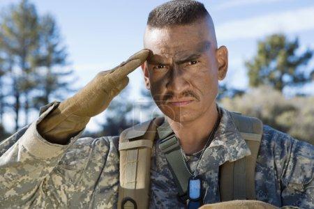 Portrait Of Soldier Saluting