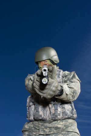 Soldier Aiming With Gun