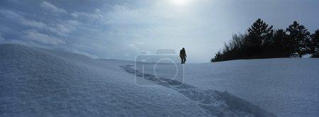 personne qui marche dans la neige