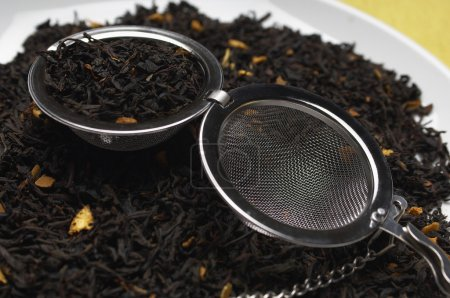 Strainer On Dry Tea Leaves