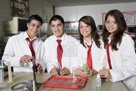 High School Students In Science Laboratory