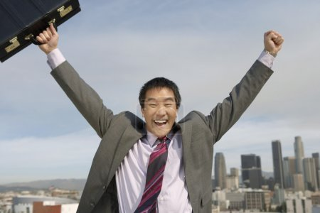 Businessman cheering