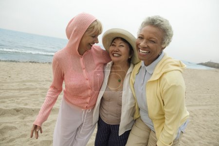 Female friends walking on beach