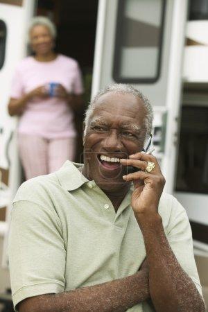 african american Man talking phone