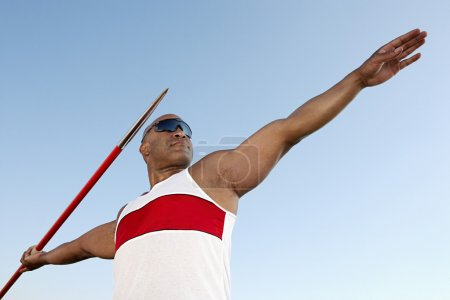 Athlete about to throw javelin
