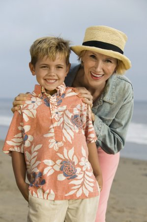 Grandmother and Grandson on Beach