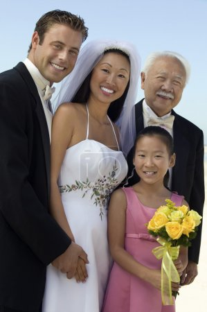 Bride and Groom with father and sister