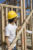 Worker holding up plank at site
