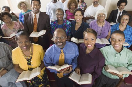 Church congregation sitting on church