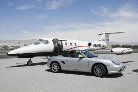 Convertible and private jet