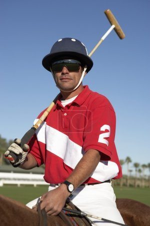 Polo player on horseback