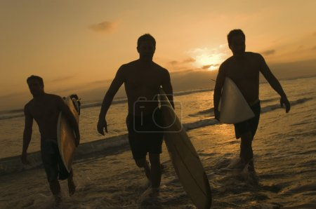Surfers carrying surfboards