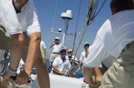 Crew on Deck During Yacht Race
