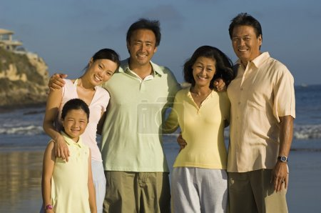 Family with girl posing on beach