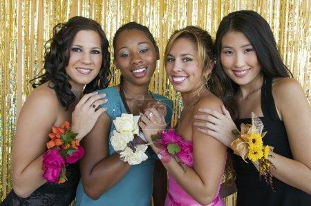 Teenager girls at school dance