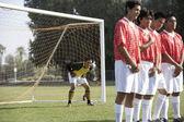 Players preparing for kick