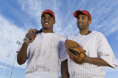 Teammates on Baseball Field