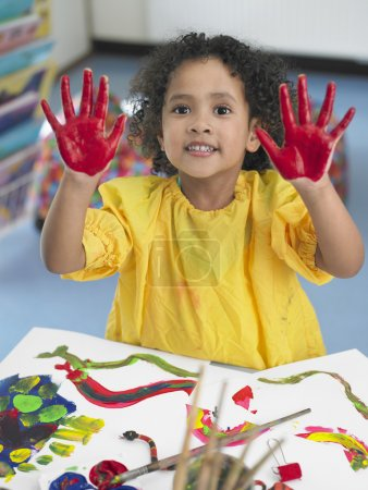 Girl with Colored hands