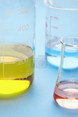 Coloured liquids in beakers