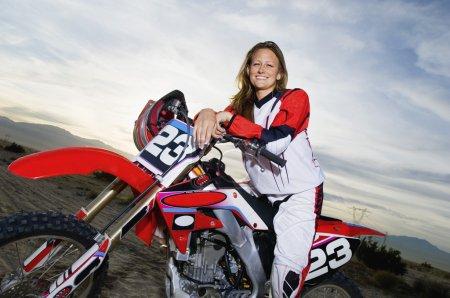Motocross racer on bike