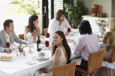 Photo for Woman at Dinner Party - Royalty Free Image
