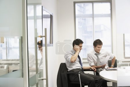 Casual meeting between relaxed businessmen