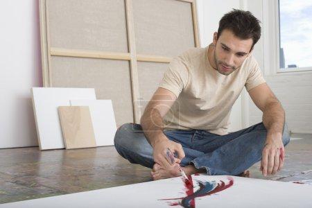 Artist Working on Canvas
