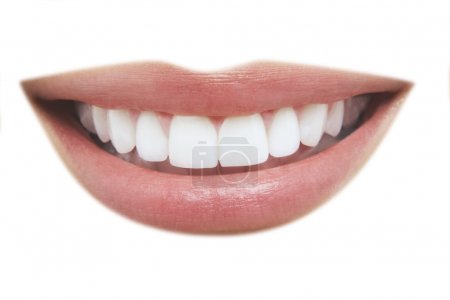 Photo for Closeup of beautiful smile with healthy teeth on white background - Royalty Free Image