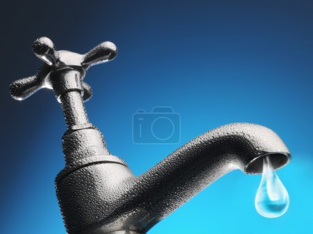 Water trickling from tap