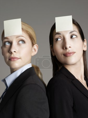 Office workers with sticky notes