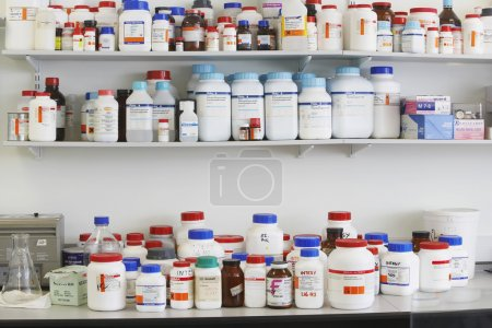 Medication containers on Shelves