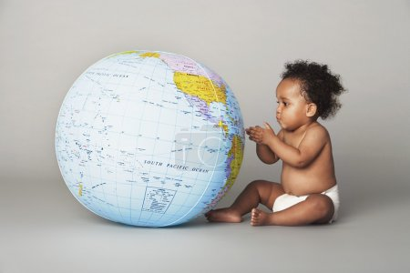 african american Baby with Globe
