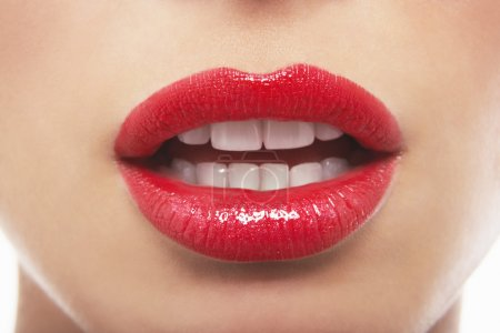 Sensuous mouth with lipstick