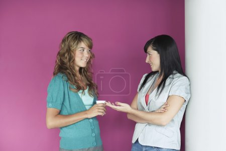 Photo pour Deux femmes qui parlent - image libre de droit